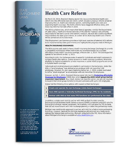 ACA Support & Compliance - Michigan Health Care Reform